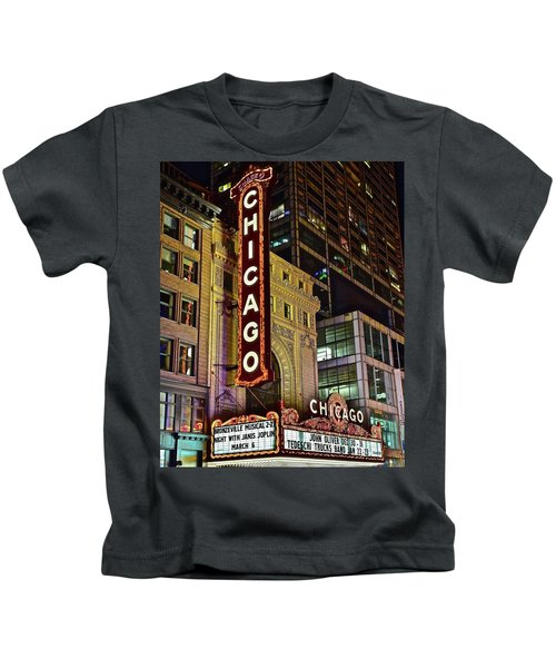 Chicago Theater Aglow Kids T-Shirt by Frozen in Time Fine Art Photography