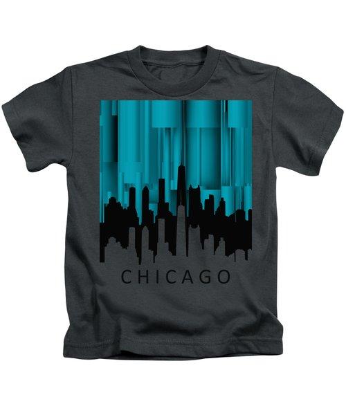 Chicago Turqoise Vertical Kids T-Shirt by Alberto RuiZ