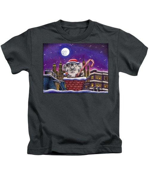 Christmas Koala In Chimney Kids T-Shirt by Remrov