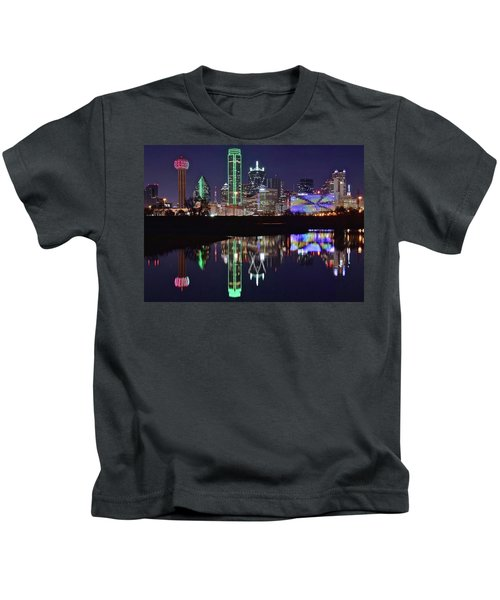 Dallas Reflecting At Night Kids T-Shirt by Frozen in Time Fine Art Photography