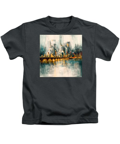 Dallas Skyline 217 3 Kids T-Shirt by Mawra Tahreem