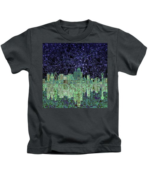 Dallas Skyline Abstract 4 Kids T-Shirt by Bekim Art