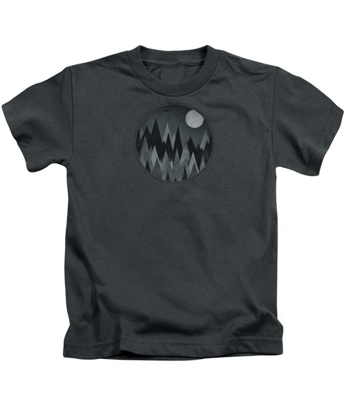 Dark Mystery Abstract Geometric Triangle Peak Woods Black And White Kids T-Shirt by Philipp Rietz