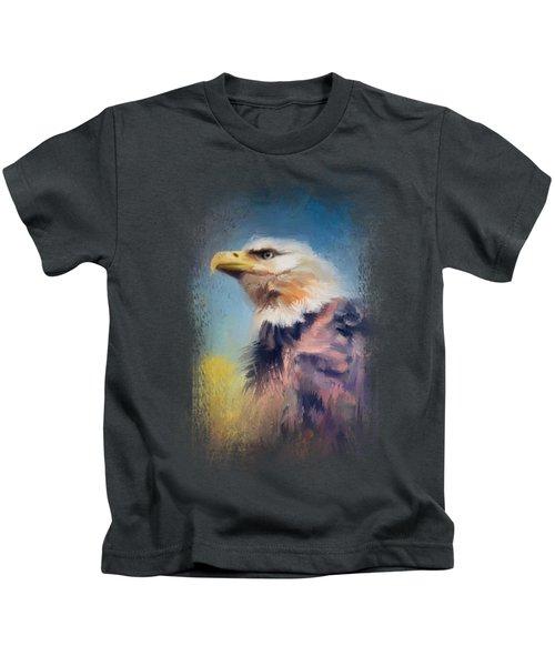 Eagle On Guard Kids T-Shirt by Jai Johnson