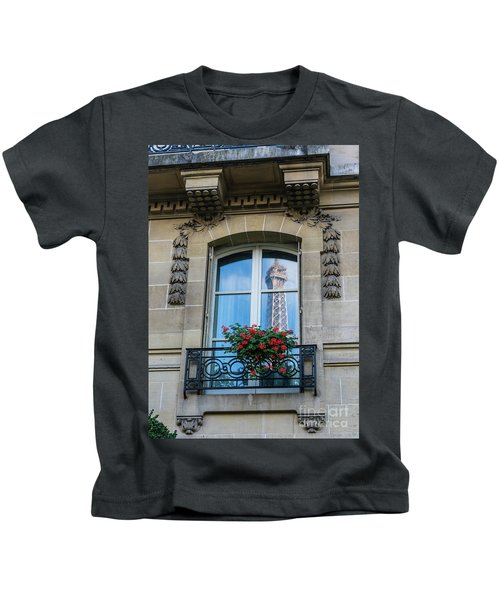 Eiffel Tower Paris Apartment Reflection Kids T-Shirt by Mike Reid