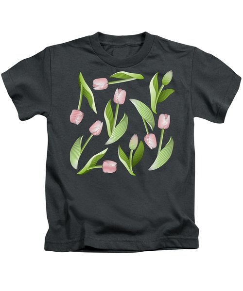 Elegant Chic Pink Tulip Floral Patten Kids T-Shirt by Wind-Up Sprout Design