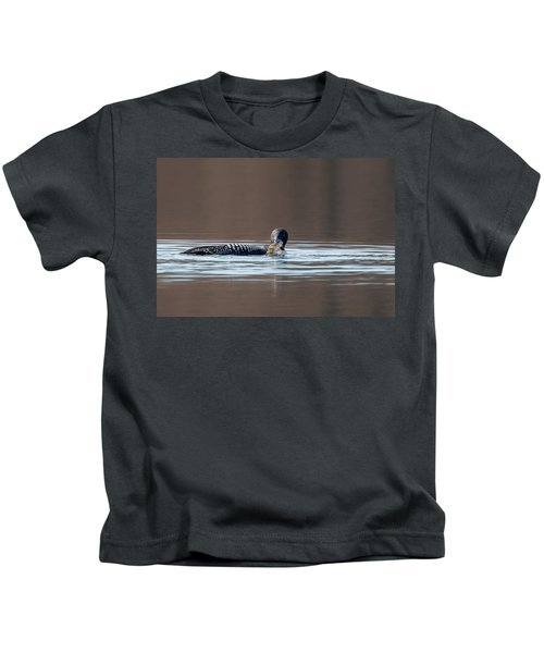 Feeding Common Loon Kids T-Shirt by Bill Wakeley