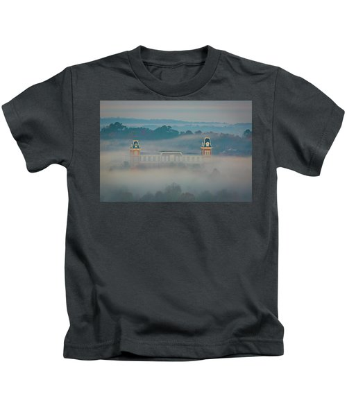Fog At Old Main Kids T-Shirt by Damon Shaw