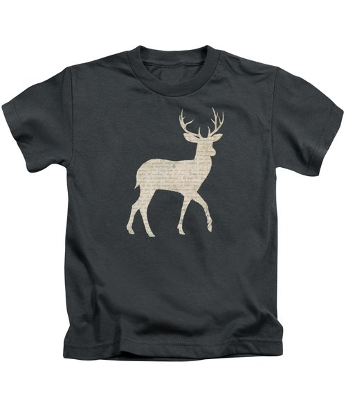 French Script Stag Kids T-Shirt by Amanda Lakey