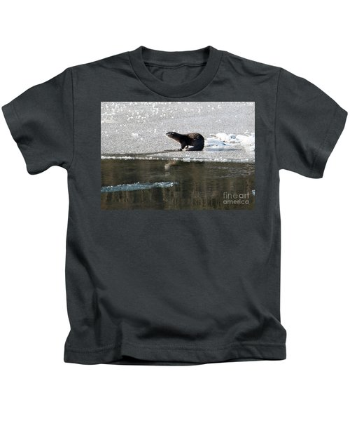 Frosty River Otter  Kids T-Shirt by Mike Dawson