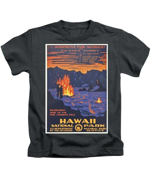Hawaii Vintage Travel Poster Kids T-Shirt by Georgia Fowler