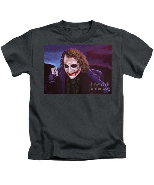 Heath Ledger As The Joker Painting Kids T-Shirt by Paul Meijering