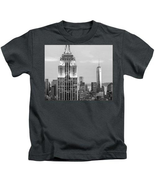 Iconic Skyscrapers Kids T-Shirt by Az Jackson