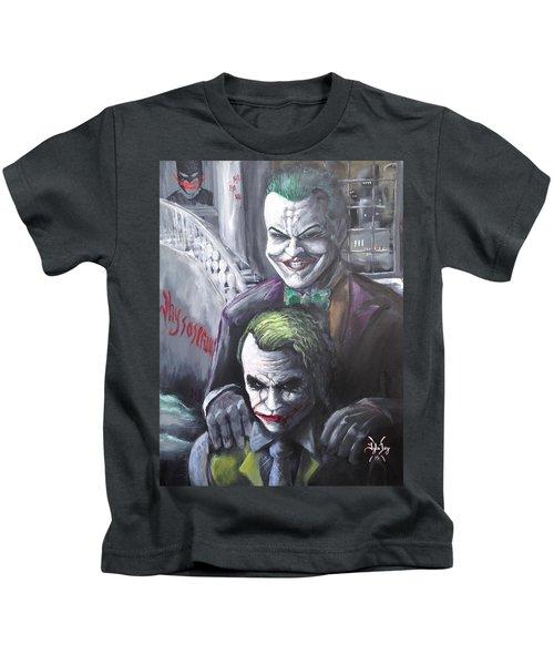 Jokery In Wayne Manor Kids T-Shirt by Tyler Haddox