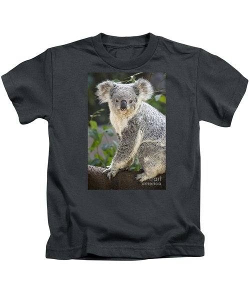 Koala Female Portrait Kids T-Shirt by Jamie Pham