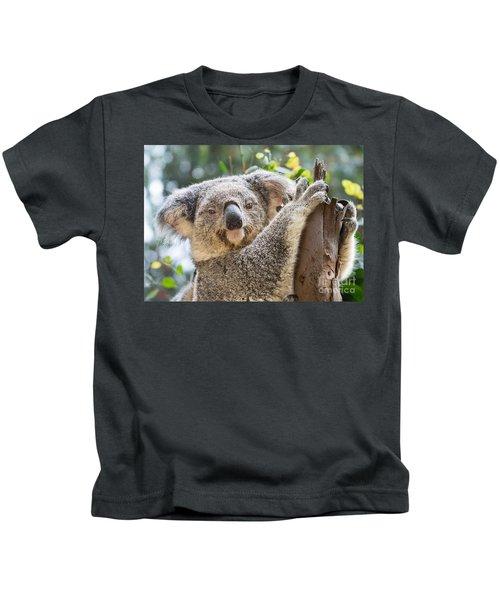 Koala On Tree Kids T-Shirt by Jamie Pham