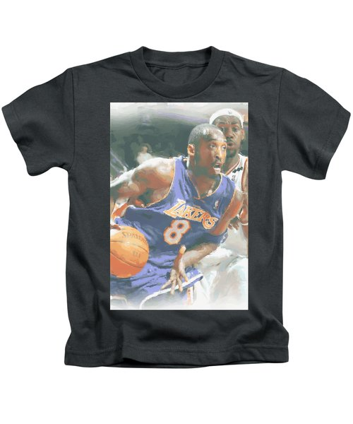 Kobe Bryant Lebron James Kids T-Shirt by Joe Hamilton