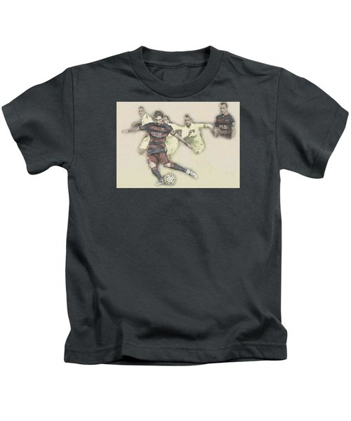 Lionel Messi Scores A Penalty Kick Against Levante  Kids T-Shirt by Don Kuing