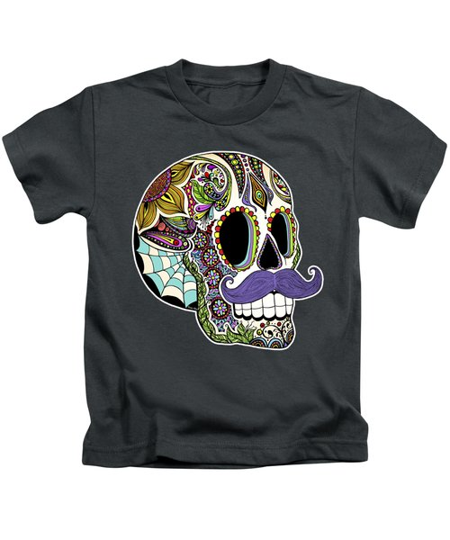 Mustache Sugar Skull Kids T-Shirt by Tammy Wetzel