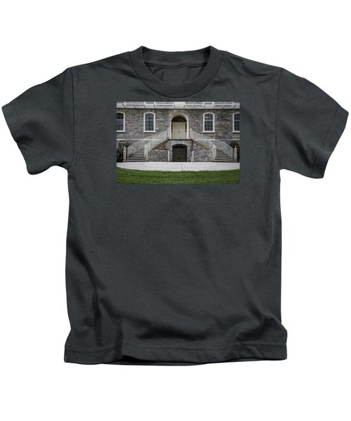 Old Main Penn State Stairs  Kids T-Shirt by John McGraw