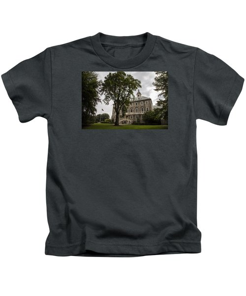 Penn State Old Main And Tree Kids T-Shirt by John McGraw