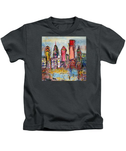 Philadelphia Skyline 232 1 Kids T-Shirt by Mawra Tahreem