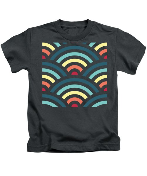 Rainbowaves Pattern Dark Kids T-Shirt by Freshinkstain
