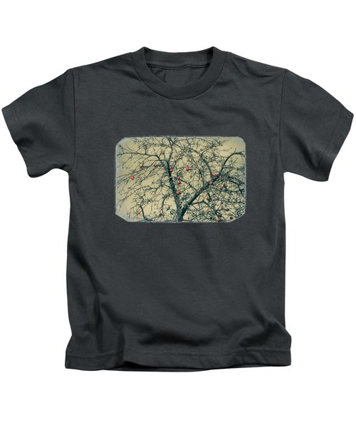 Red Apples In Empty Garden Kids T-Shirt by Konstantin Sevostyanov