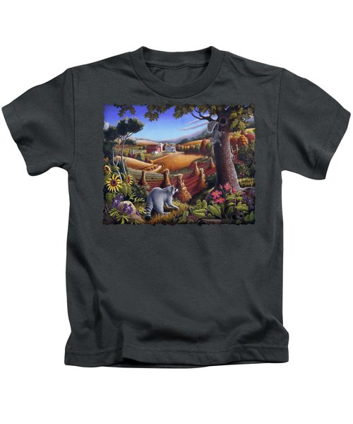 Rural Country Farm Life Landscape Folk Art Raccoon Squirrel Rustic Americana Scene  Kids T-Shirt by Walt Curlee