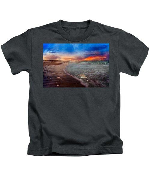 Sandpiper Sunrise Kids T-Shirt by Betsy Knapp