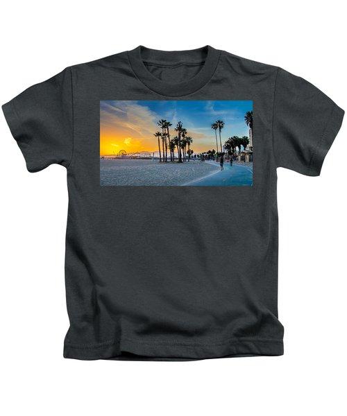 Santa Monica Sunset Kids T-Shirt by Az Jackson