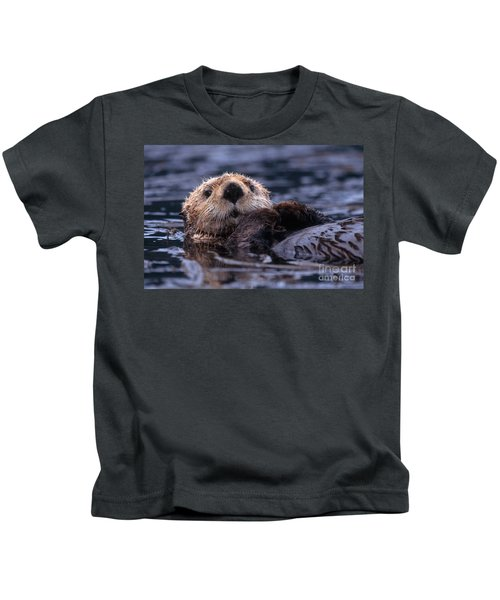 Sea Otter Kids T-Shirt by Yva Momatiuk and John Eastcott and Photo Researchers
