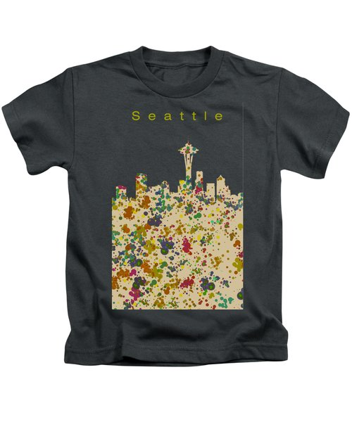 Seattle Skyline 1 Kids T-Shirt by Alberto RuiZ