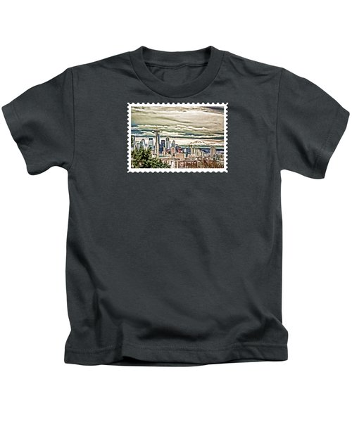 Seattle Skyline In Fog And Rain Kids T-Shirt by Elaine Plesser