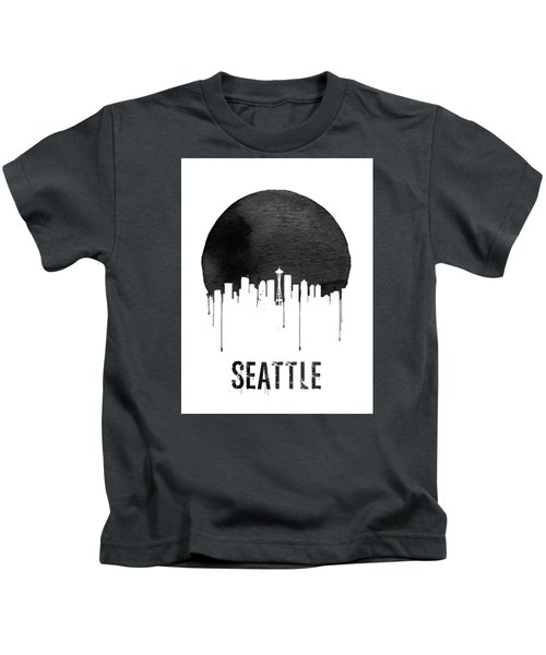 Seattle Skyline White Kids T-Shirt by Naxart Studio
