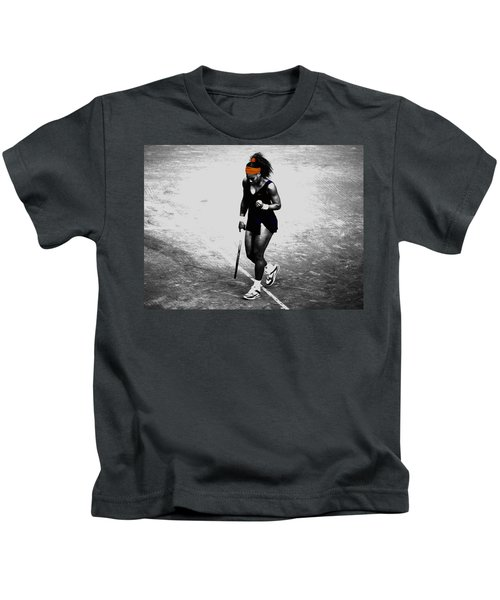 Serena Williams Match Point 3a Kids T-Shirt by Brian Reaves