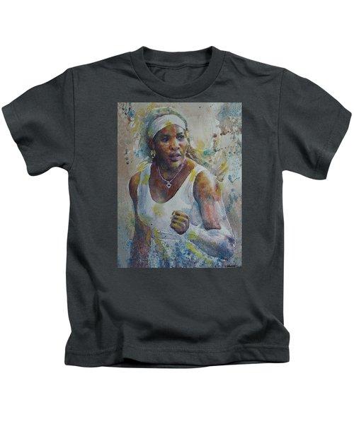 Serena Williams - Portrait 5 Kids T-Shirt by Baresh Kebar - Kibar