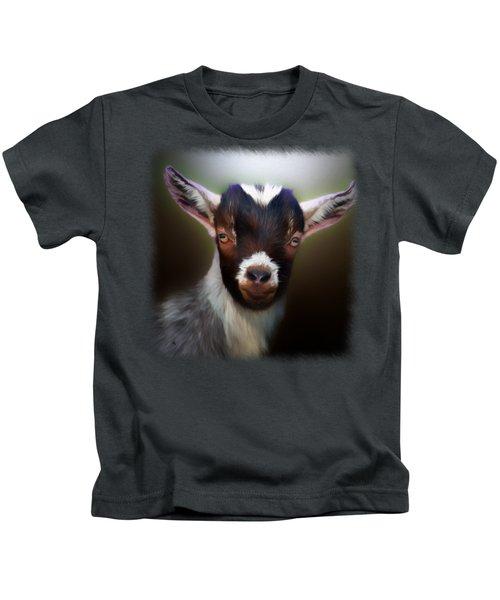Skippy - Goat Portrait Kids T-Shirt by Linda Koelbel