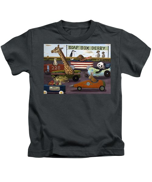 Soap Box Derby Kids T-Shirt by Leah Saulnier The Painting Maniac