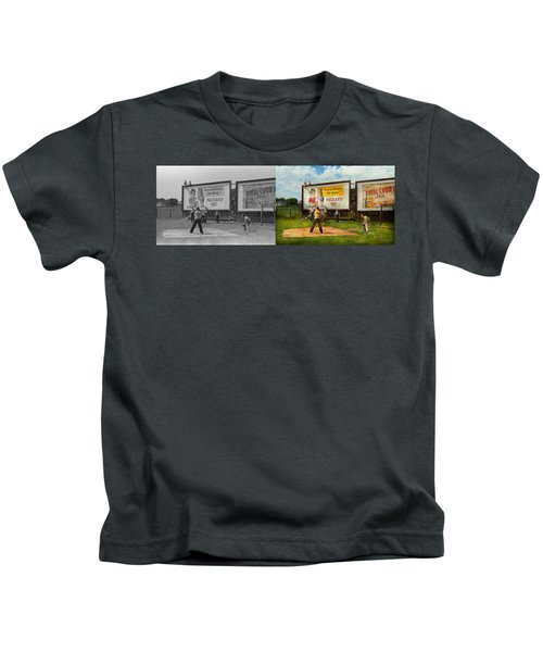 Sport - Baseball - America's Past Time 1943 - Side By Side Kids T-Shirt by Mike Savad