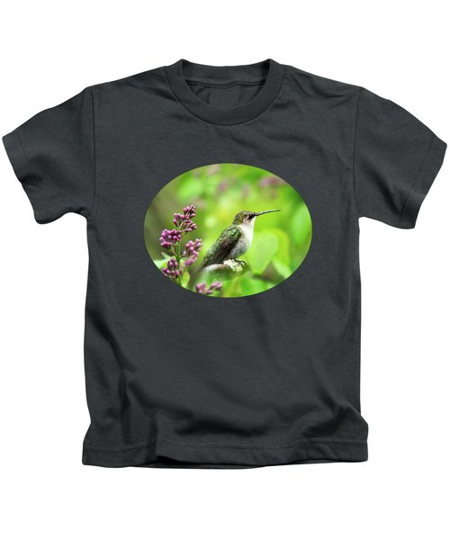Spring Beauty Ruby Throat Hummingbird Kids T-Shirt by Christina Rollo