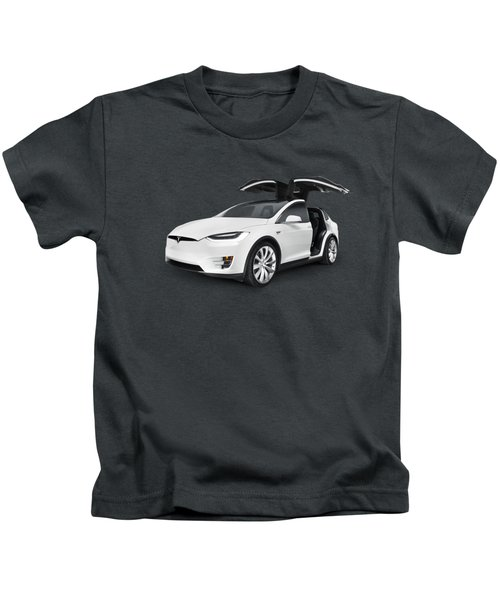 Tesla Model X Luxury Suv Electric Car With Open Falcon-wing Doors Art Photo Print Kids T-Shirt by Oleksiy Maksymenko