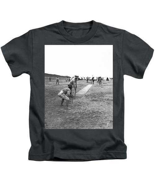 Troops Playing Cricket Kids T-Shirt by Underwood Archives