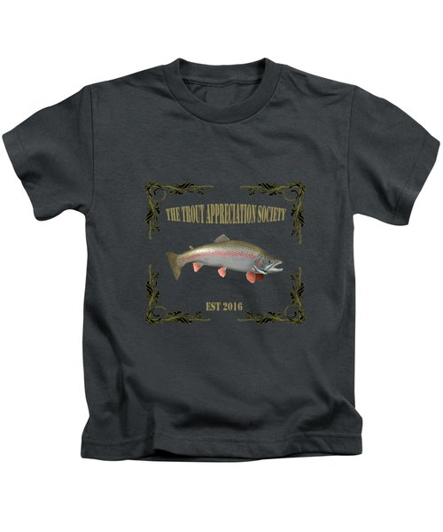 Trout Appreciation Society  Kids T-Shirt by Rob Hawkins