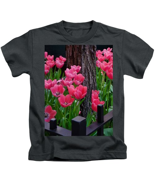 Tulips And Tree Kids T-Shirt by Mike Nellums