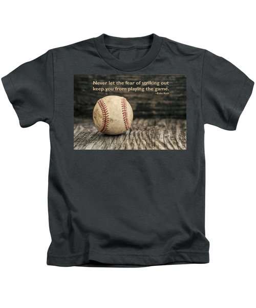 Vintage Baseball Babe Ruth Quote Kids T-Shirt by Terry DeLuco