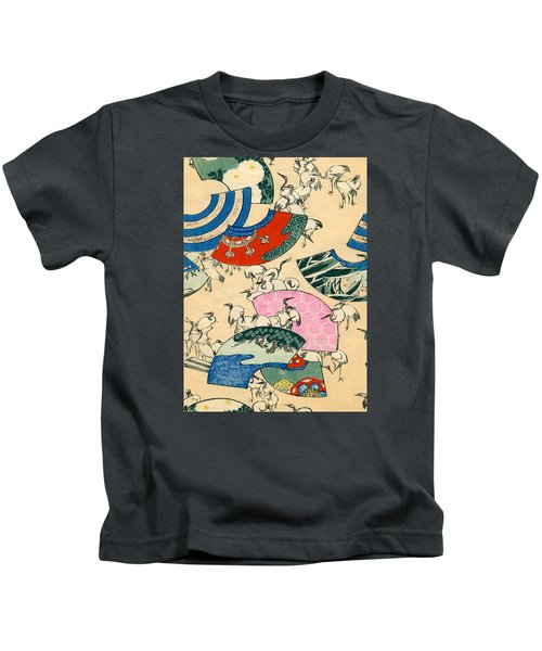 Vintage Japanese Illustration Of Fans And Cranes Kids T-Shirt by Japanese School