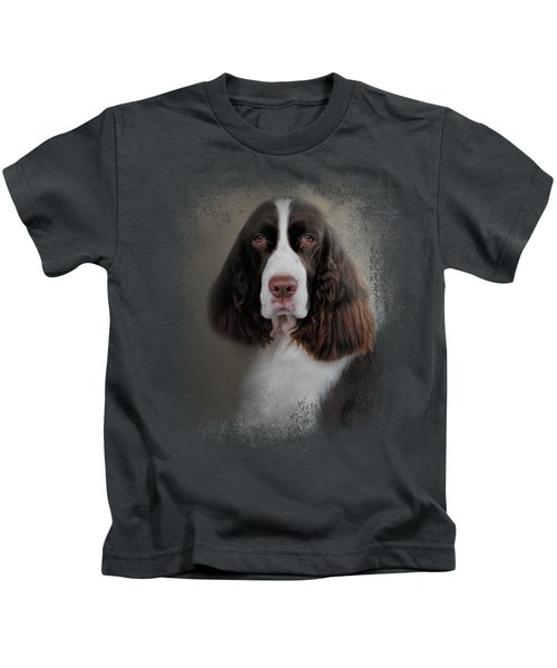 Waiting Patiently - English Springer Spaniel Kids T-Shirt by Jai Johnson