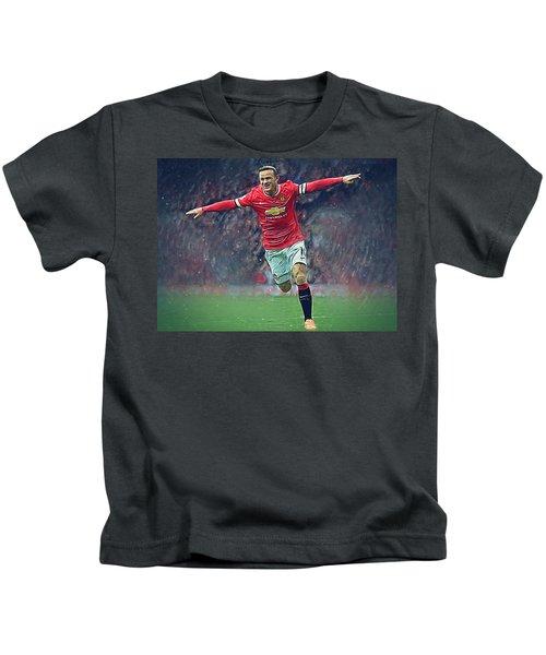 Wayne Rooney Kids T-Shirt by Semih Yurdabak