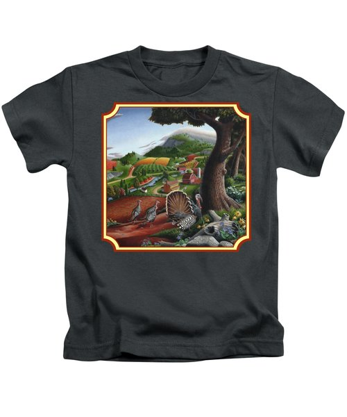 Wild Turkeys In The Hills Country Landscape - Square Format Kids T-Shirt by Walt Curlee